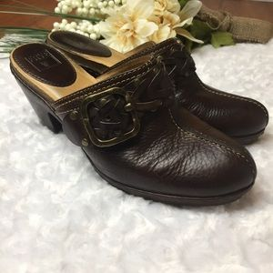"""Frye """"Candice"""" Woven Clogs size 7.5 Espresso brown"""